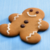 gingerbread man on blue background